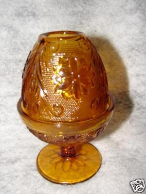 This Is A Beautiful TIARA SANDWICH GLASS AMBER FAIRY LAMP. It Measures  Approximately 6 Inches Tall And Is 3 3/4 Inches In Diameter At The Bottom.