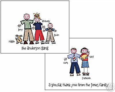 Stick Figure/People Note Cards Personalized Cute