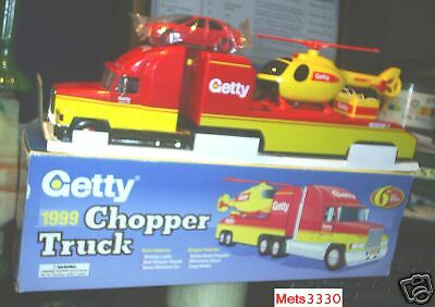 1999 GETTY HELICOPTER CARRIER TRANSPORTER TRUCK TOY