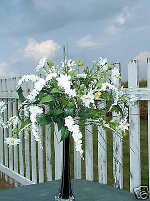 Tall Black Vase Silk Arrangement White Wedding Flowers Wisteria & Wildflowers